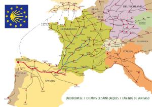 Europese pelgrimsroutes naar Santiago de Compostela